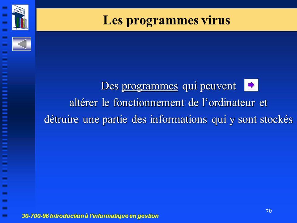 30-700-96 Introduction à linformatique en gestion 70 Des programmes qui peuvent altérer le fonctionnement de lordinateur et détruire une partie des informations qui y sont stockés Les programmes virus
