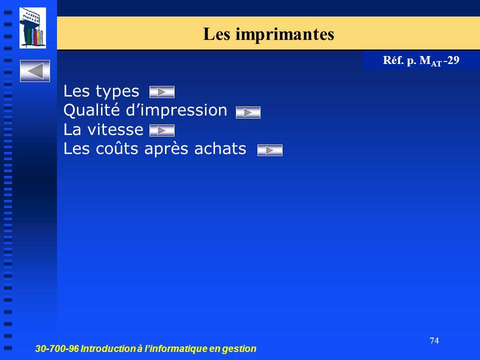 30-700-96 Introduction à linformatique en gestion 74 Les imprimantes Réf.