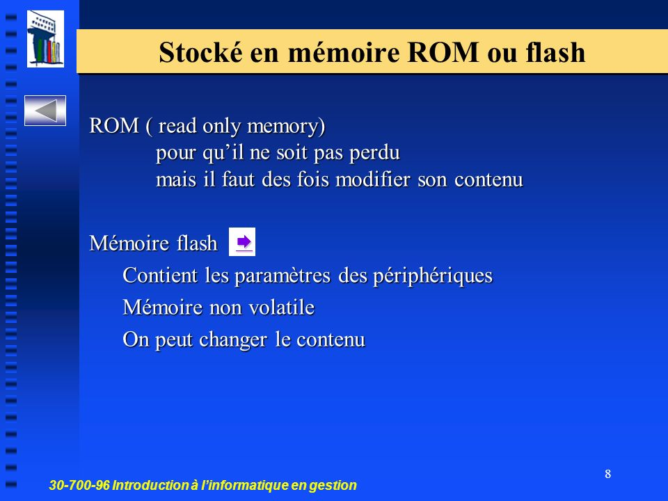 30-700-96 Introduction à linformatique en gestion 8 Stocké en mémoire ROM ou flash ROM ( read only memory) pour quil ne soit pas perdu mais il faut de