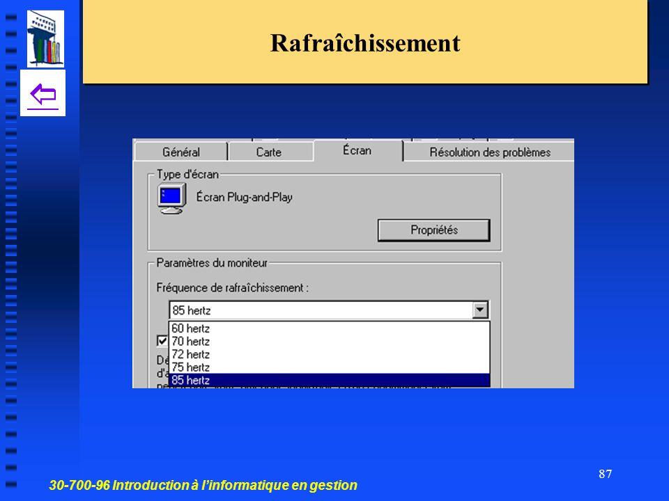 30-700-96 Introduction à linformatique en gestion 87 Rafraîchissement