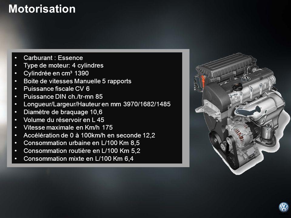 Carburant : Essence Type de moteur: 4 cylindres Cylindrée en cm³ 1390 Boite de vitesses Manuelle 5 rapports Puissance fiscale CV 6 Puissance DIN ch./t