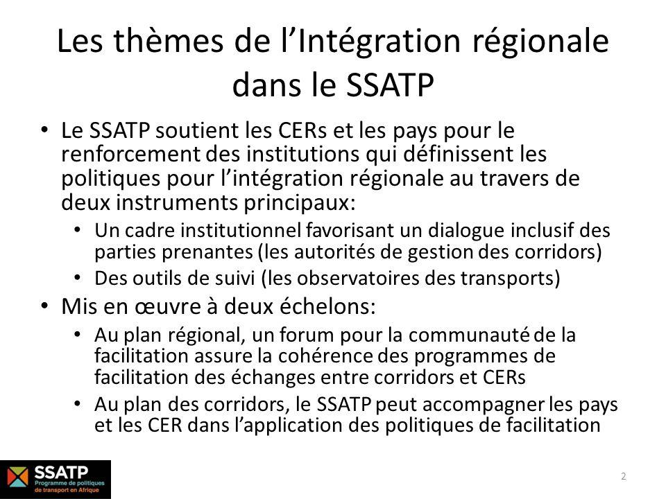 Les quatre piliers de lIntégration Régionale dans le SSATP Observatoires de transport Des politiques de facilitation des transports efficaces ne peuvent être basée que sur un diagnostic précis des causes des problèmes et non seulement de leurs symptômes Les Observatoires de transport : une boite à outils pour analyses et diagnostics Autorités de corridors Des mesures de facilitations efficaces supposent un dialogue impliquant à la fois les agences publiques qui définissent le cadre règlementaire et les operateurs logistiques quil régit Autorités de corridors: des cadres institutionnels favorisant le dialogue inclusif sur les politiques Coordination régionale La facilitation des échanges est un sujet complexe: la coordination, léchange dexpérience et la diffusion des bonnes pratiques sont essentiels CCT-CER : le forum pour la communauté de la facilitation des échanges en Afrique Solutions pratiques Les connaissances établies et partagées sont également mises en pratique dans une variété de contextes et dobjectifs Solutions pratiques: démontrer lefficacité de définir et mettre en œuvre de bonnes politiques 3