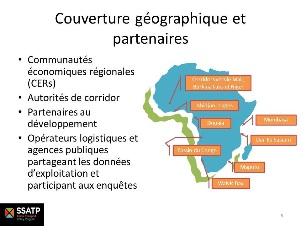 Couverture géographique et partenaires Communautés économiques régionales (CERs) Autorités de corridor Partenaires au développement Opérateurs logisti