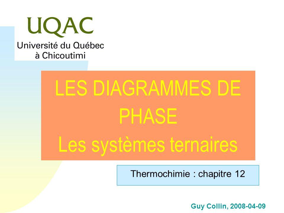 Guy Collin, 2008-04-09 LES DIAGRAMMES DE PHASE Les systèmes ternaires Thermochimie : chapitre 12