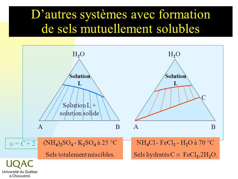 = C + 2 - Dautres systèmes avec formation de sels mutuellement solubles H2OH2O A B Solution L H2OH2O A B (NH 4 )Cr(SO 4 ) 2 - (NH 4 )Fe(SO 4 ) 2 à 25 °C A,H 2 O et B,H 2 O miscibles.