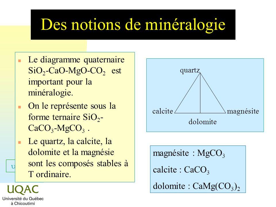 = C + 2 - Des notions de minéralogie n Le diagramme quaternaire SiO 2 -CaO-MgO-CO 2 est important pour la minéralogie. On le représente sous la forme