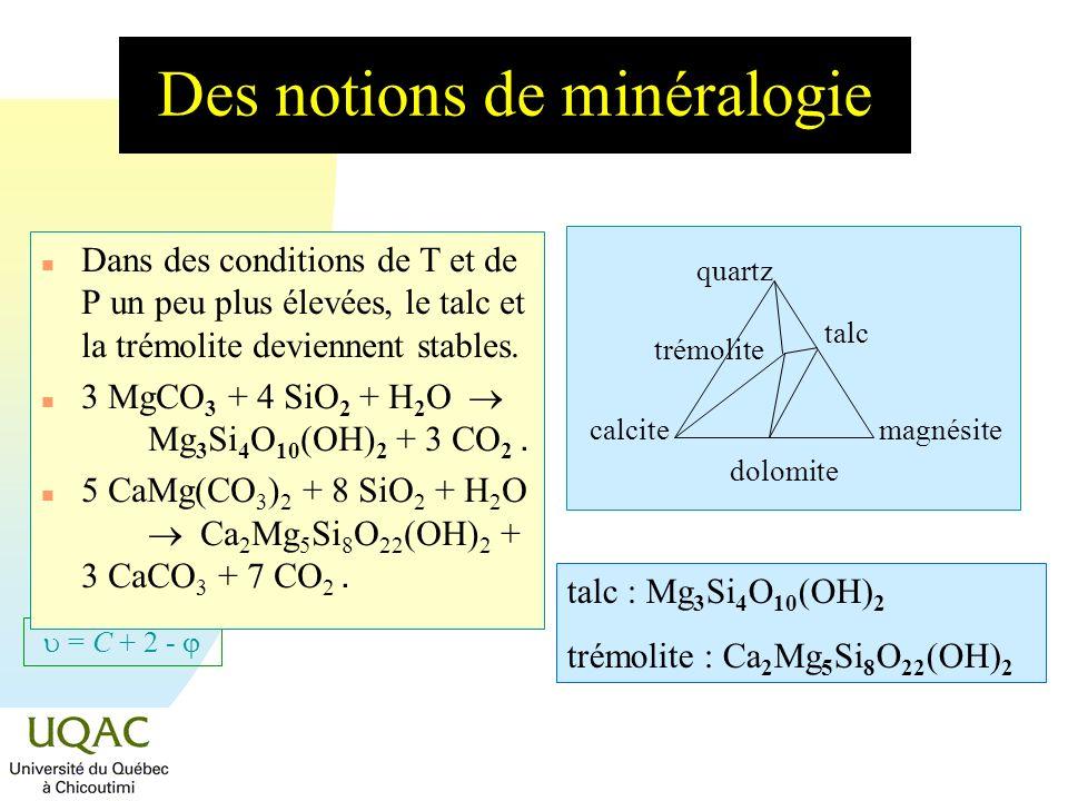= C + 2 - Des notions de minéralogie n Dans des conditions de T et de P un peu plus élevées, le talc et la trémolite deviennent stables. 3 MgCO 3 + 4