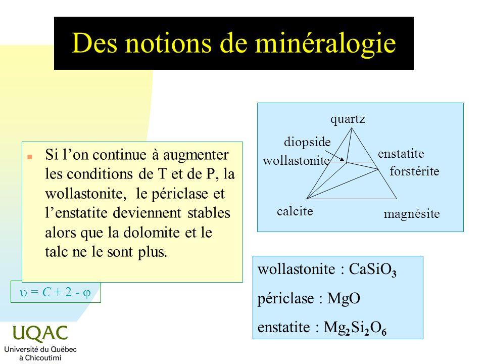 = C + 2 - Des notions de minéralogie n Si lon continue à augmenter les conditions de T et de P, la wollastonite, le périclase et lenstatite deviennent