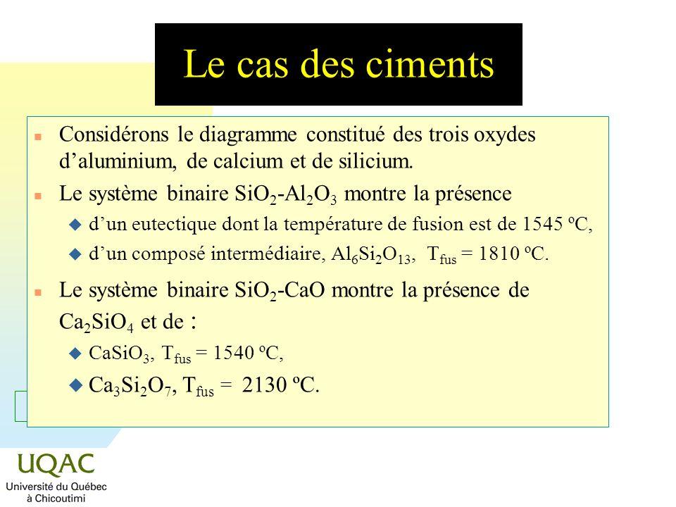 = C + 2 - Le cas des ciments n Considérons le diagramme constitué des trois oxydes daluminium, de calcium et de silicium. n Le système binaire SiO 2 -