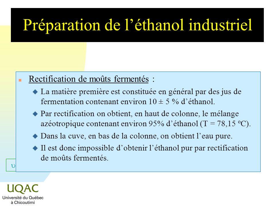 = C + 2 - Préparation de léthanol industriel n Rectification de moûts fermentés : u La matière première est constituée en général par des jus de ferme