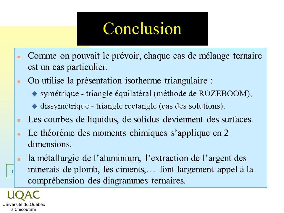 = C + 2 - Conclusion n Comme on pouvait le prévoir, chaque cas de mélange ternaire est un cas particulier. n On utilise la présentation isotherme tria