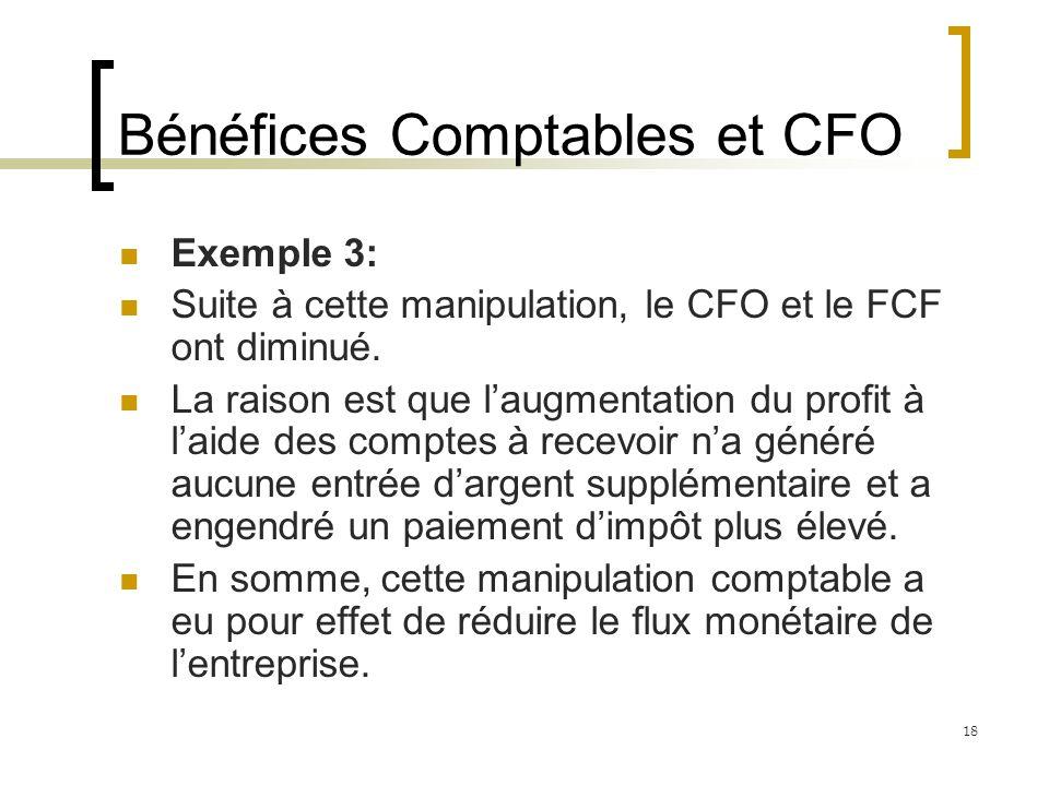 Bénéfices Comptables et CFO Exemple 3: Suite à cette manipulation, le CFO et le FCF ont diminué.