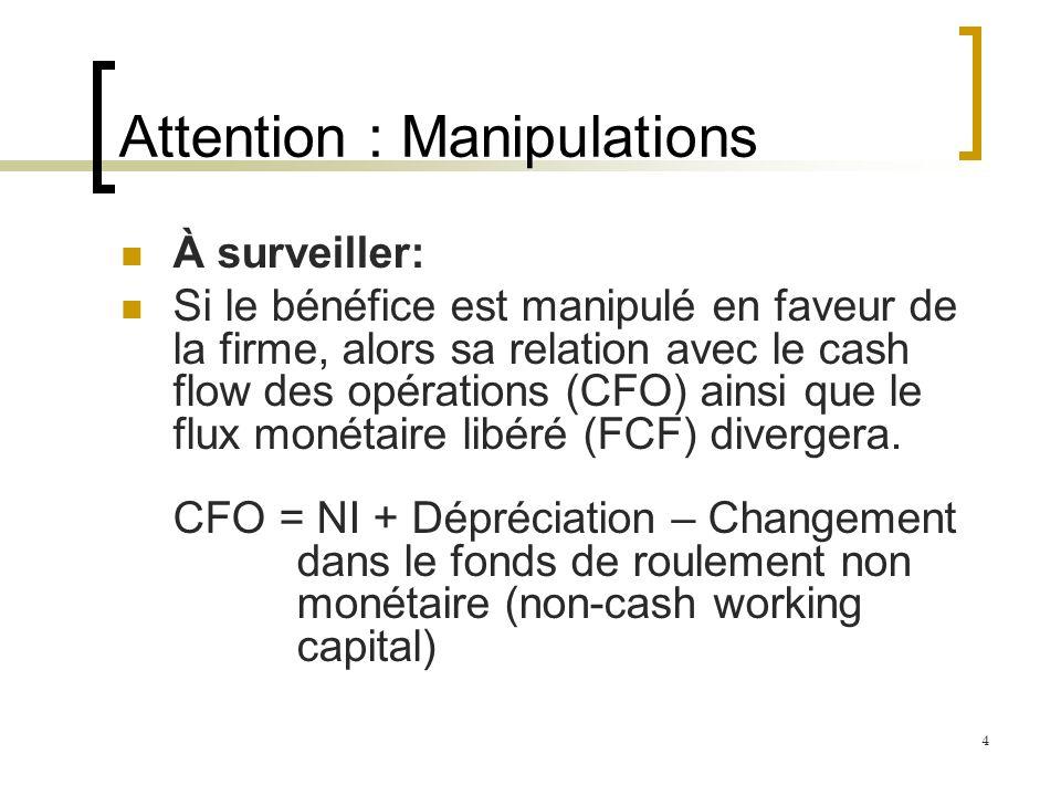 Attention : Manipulations À surveiller: Si le bénéfice est manipulé en faveur de la firme, alors sa relation avec le cash flow des opérations (CFO) ainsi que le flux monétaire libéré (FCF) divergera.