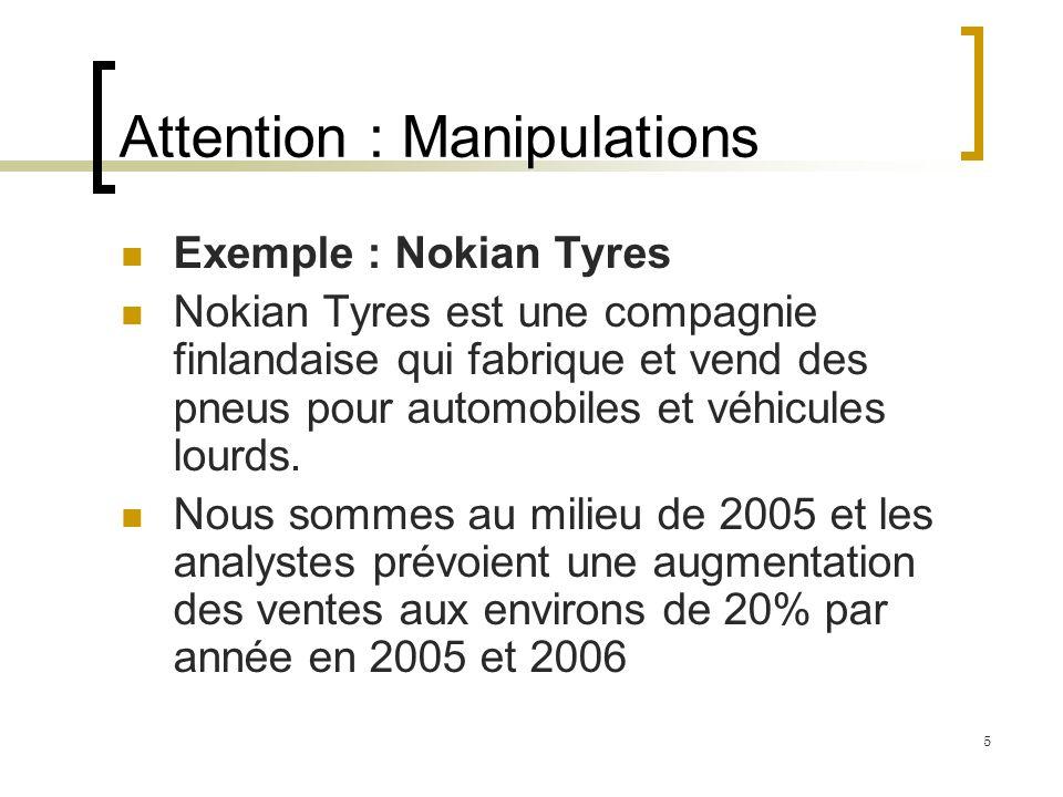 Attention : Manipulations Exemple : Nokian Tyres Nokian Tyres est une compagnie finlandaise qui fabrique et vend des pneus pour automobiles et véhicules lourds.