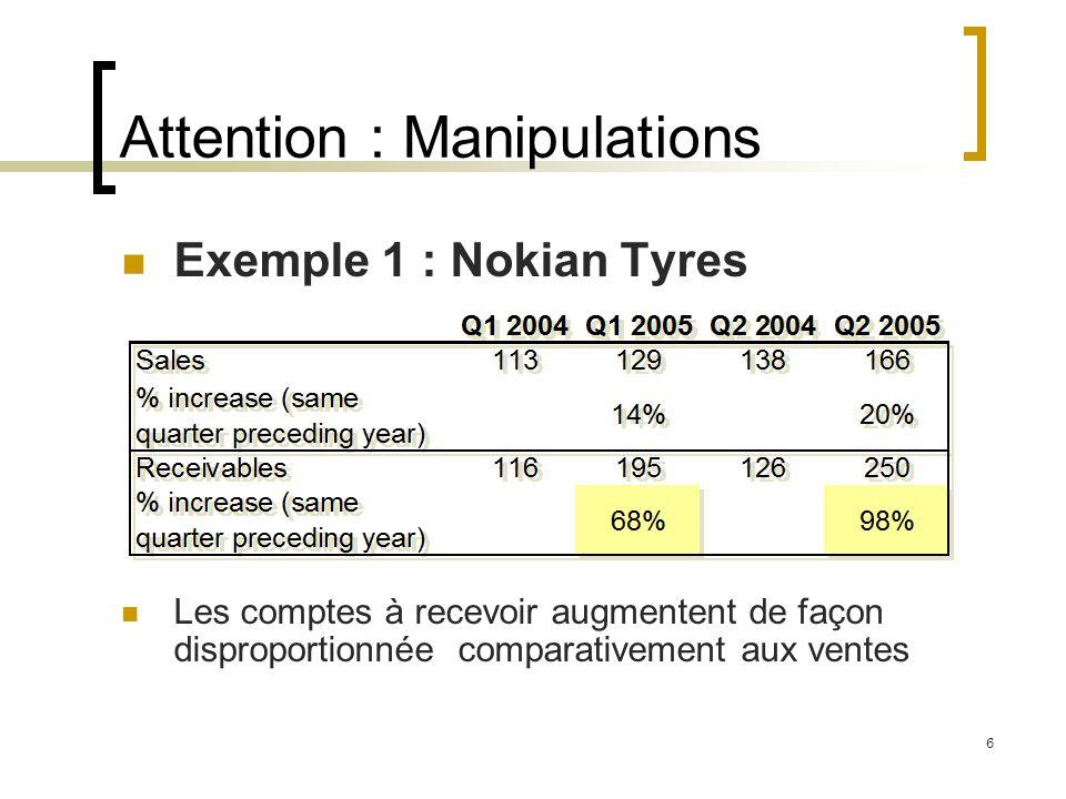 Attention : Manipulations Exemple 1 : Nokian Tyres Les comptes à recevoir augmentent de façon disproportionnée comparativement aux ventes 6
