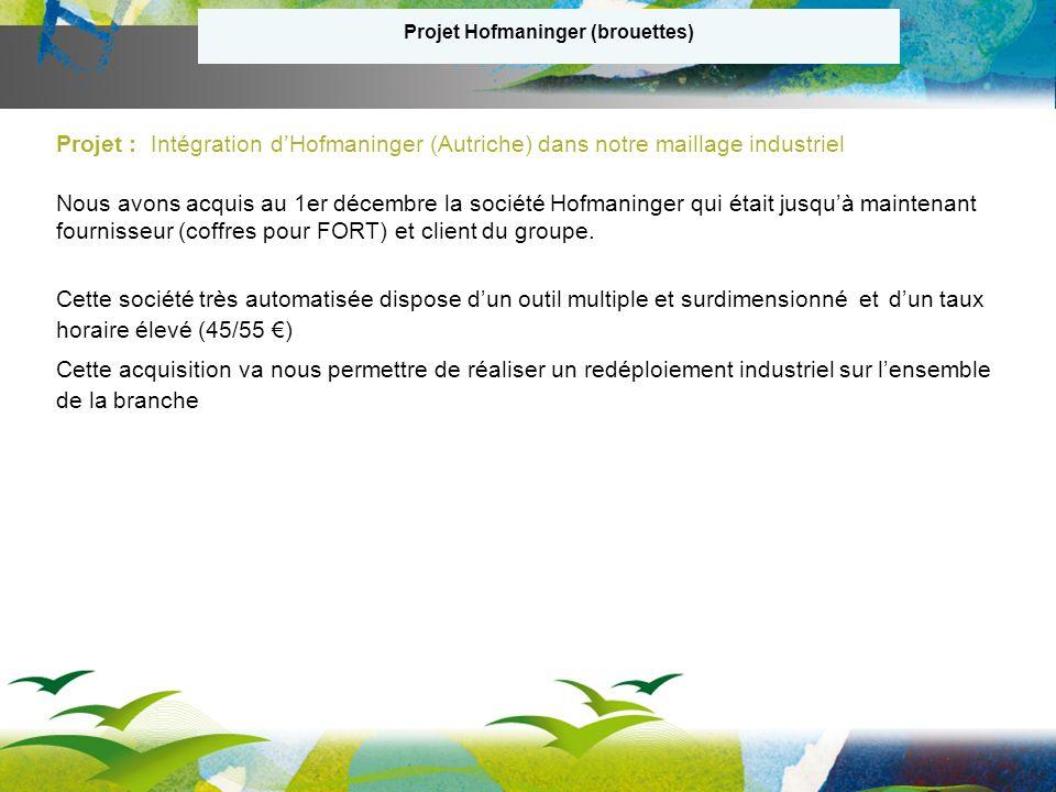Projet Hofmaninger (brouettes) Projet : Intégration dHofmaninger (Autriche) dans notre maillage industriel Nous avons acquis au 1er décembre la société Hofmaninger qui était jusquà maintenant fournisseur (coffres pour FORT) et client du groupe.