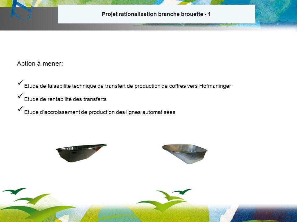 Projet rationalisation branche brouette - 1 Action à mener: Etude de faisabilité technique de transfert de production de coffres vers Hofmaninger Etude de rentabilité des transferts Etude daccroissement de production des lignes automatisées