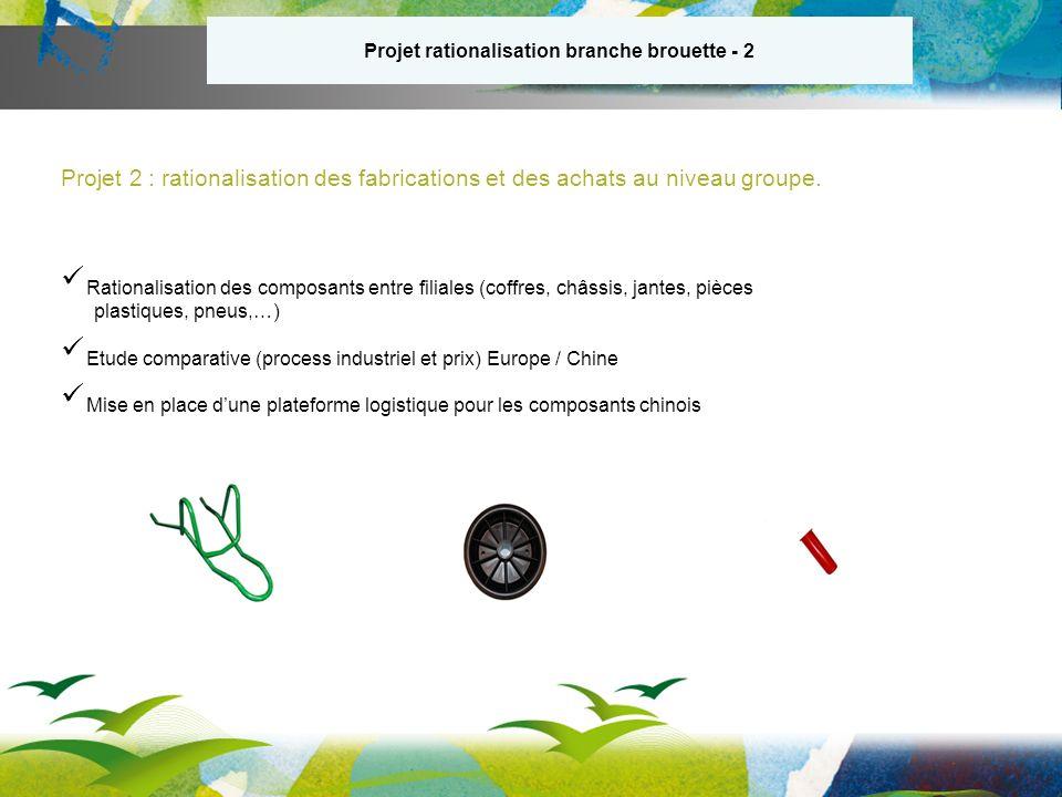 Projet 2 : rationalisation des fabrications et des achats au niveau groupe.