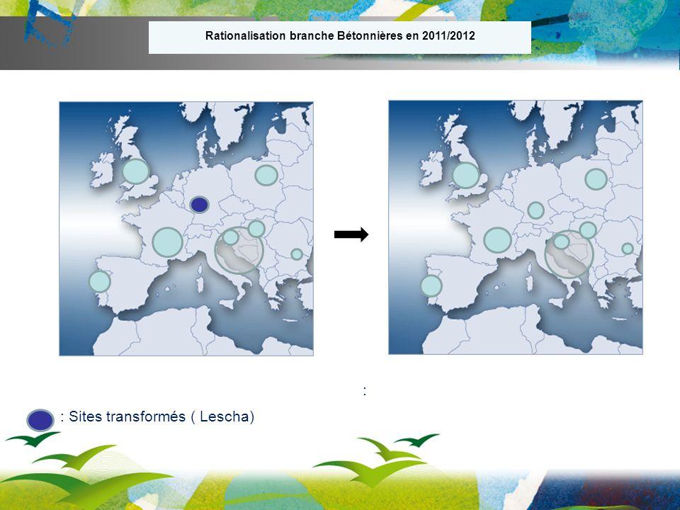 : Sites transformés ( Lescha) : Rationalisation branche Bétonnières en 2011/2012