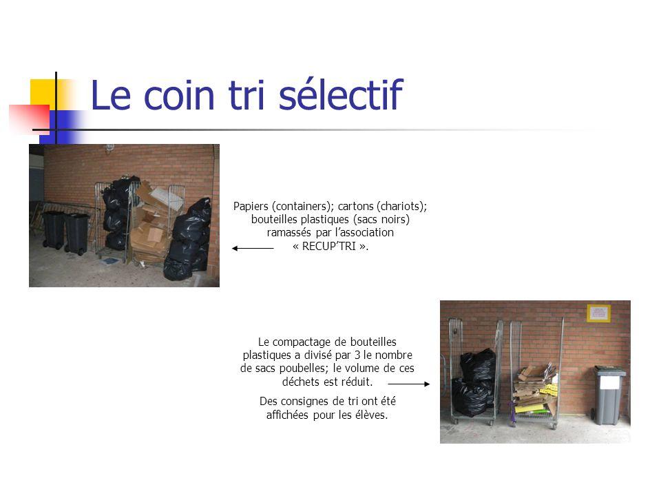 Le coin tri sélectif Papiers (containers); cartons (chariots); bouteilles plastiques (sacs noirs) ramassés par lassociation « RECUPTRI ». Le compactag