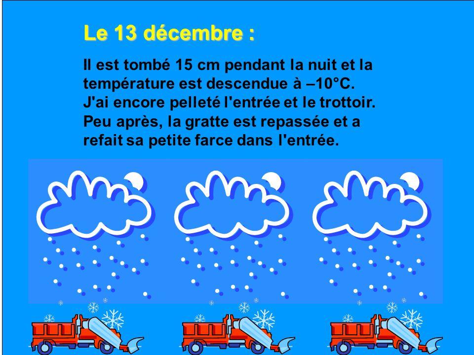 Le 12 décembre : Le soleil a fait fondre presque toute la neige. Je suis sûr que nous en aurons d'autre avant que ce merveilleux hiver soit fini.