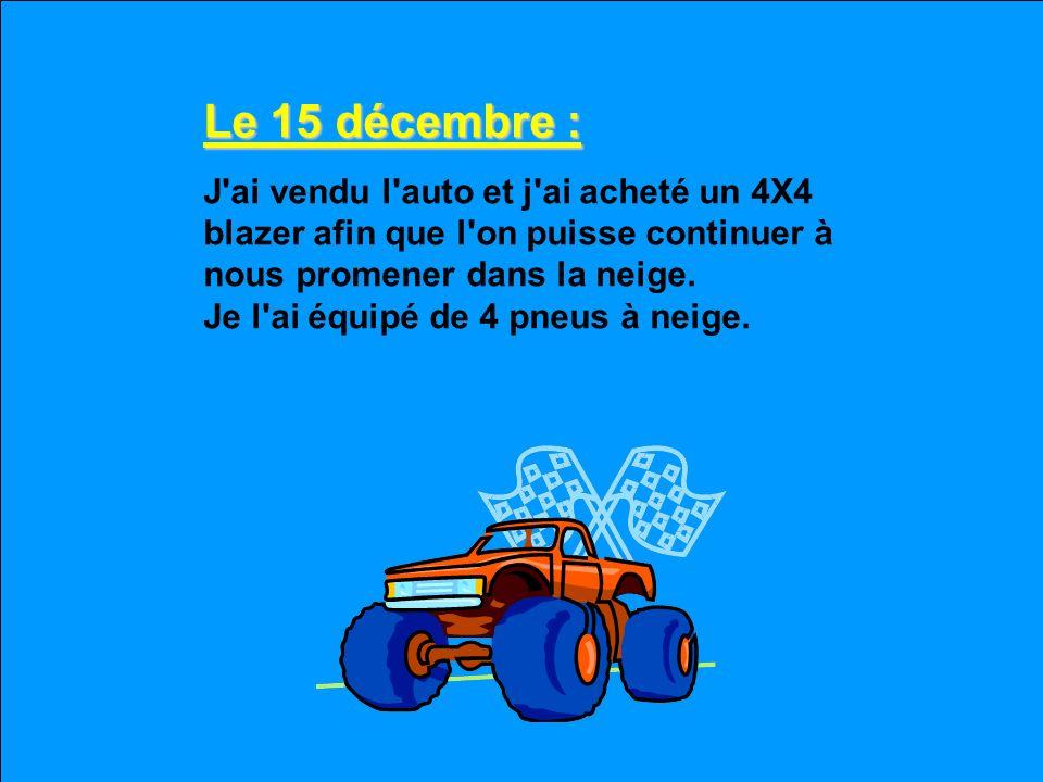 Le 14 décembre : Encore de la neige hier soir. Je n'ai pas pu sortir de ma cour pour aller travailler et je suis épuisé de pelleter. Clisse de charrue