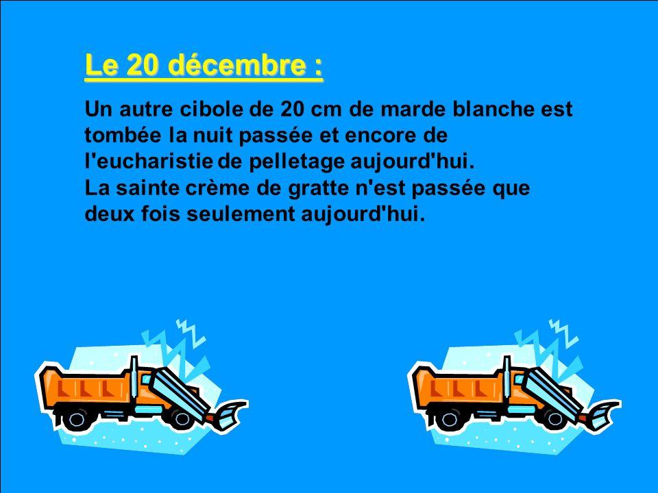 Le 19 décembre : Il fait frette en clisse -24 ce matin, les routes sont glacées, la conduite est impossible et j'ai frappé un poteau avec l'auto de ma