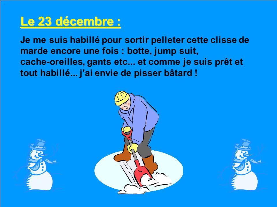 Le 22 décembre : On est assuré d'un Noël blanc parce qu'un autre 10 cm de marde blanche nous est tombée dessus la nuit passée et avec cette clisse de