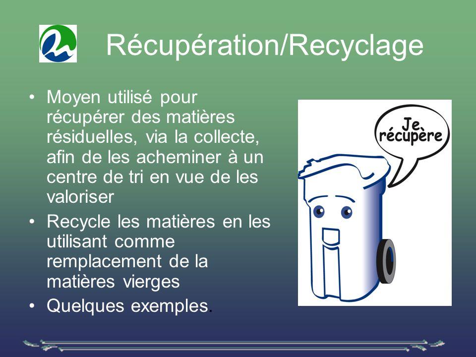 Récupération/Recyclage Moyen utilisé pour récupérer des matières résiduelles, via la collecte, afin de les acheminer à un centre de tri en vue de les valoriser Recycle les matières en les utilisant comme remplacement de la matières vierges Quelques exemples.