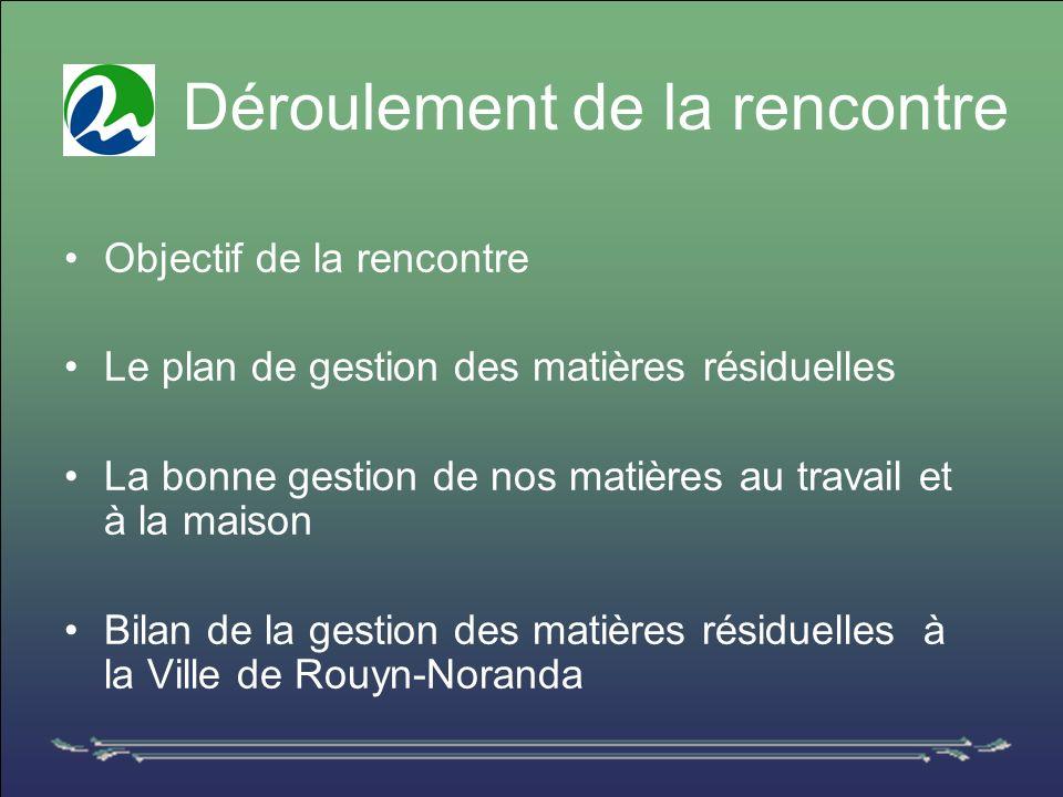 Déroulement de la rencontre Objectif de la rencontre Le plan de gestion des matières résiduelles La bonne gestion de nos matières au travail et à la maison Bilan de la gestion des matières résiduelles à la Ville de Rouyn-Noranda