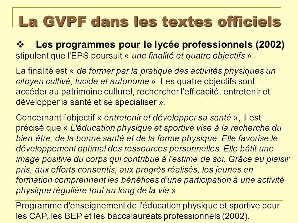 La GVPF dans les textes officiels Les programmes pour le lycée professionnels (2002) stipulent que lEPS poursuit « une finalité et quatre objectifs ».