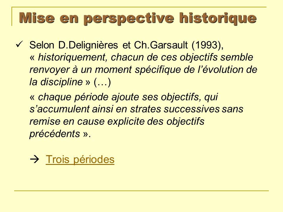 Mise en perspective historique Selon D.Delignières et Ch.Garsault (1993), « historiquement, chacun de ces objectifs semble renvoyer à un moment spécif