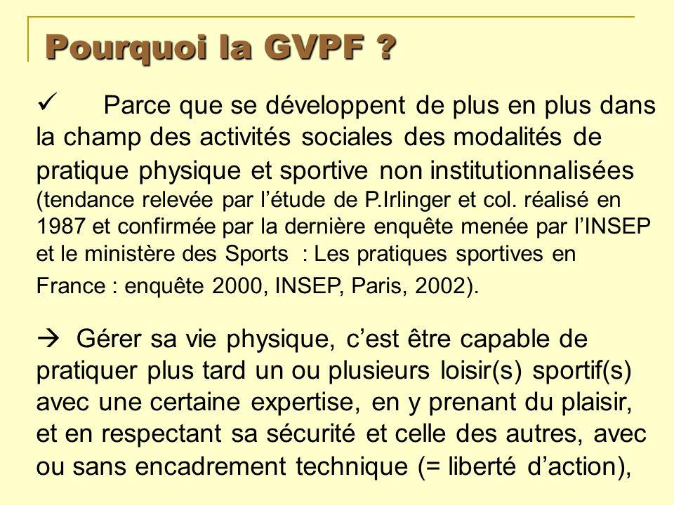 Pourquoi la GVPF ? Parce que se développent de plus en plus dans la champ des activités sociales des modalités de pratique physique et sportive non in