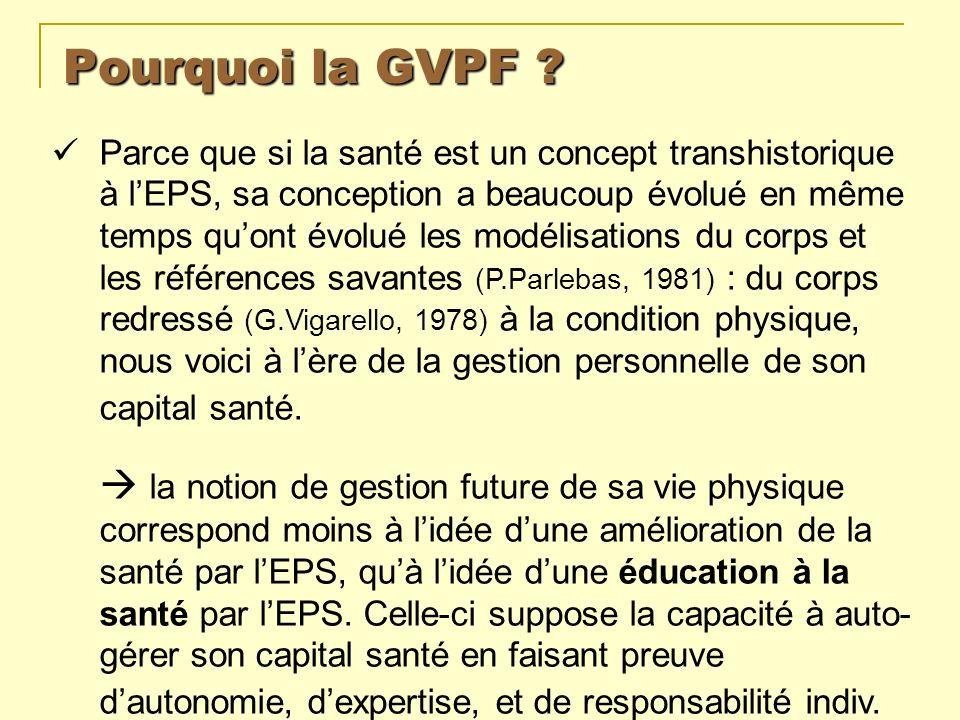 Pourquoi la GVPF ? Parce que si la santé est un concept transhistorique à lEPS, sa conception a beaucoup évolué en même temps quont évolué les modélis