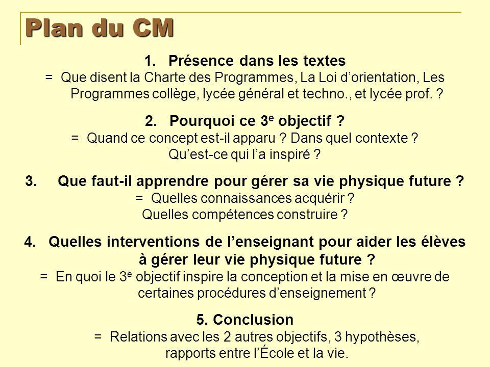 Plan du CM 1.Présence dans les textes = Que disent la Charte des Programmes, La Loi dorientation, Les Programmes collège, lycée général et techno., et
