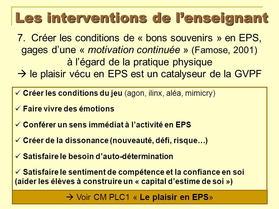 Les interventions de lenseignant 7. Créer les conditions de « bons souvenirs » en EPS, gages dune « motivation continuée » (Famose, 2001) à légard de