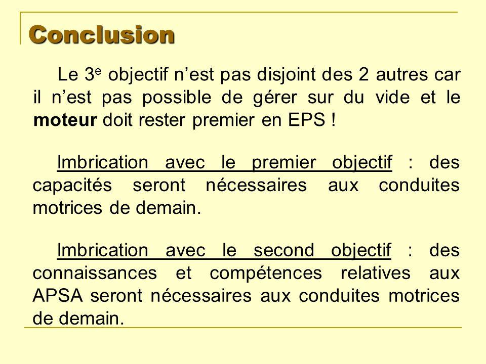 Conclusion Le 3 e objectif nest pas disjoint des 2 autres car il nest pas possible de gérer sur du vide et le moteur doit rester premier en EPS ! Imbr