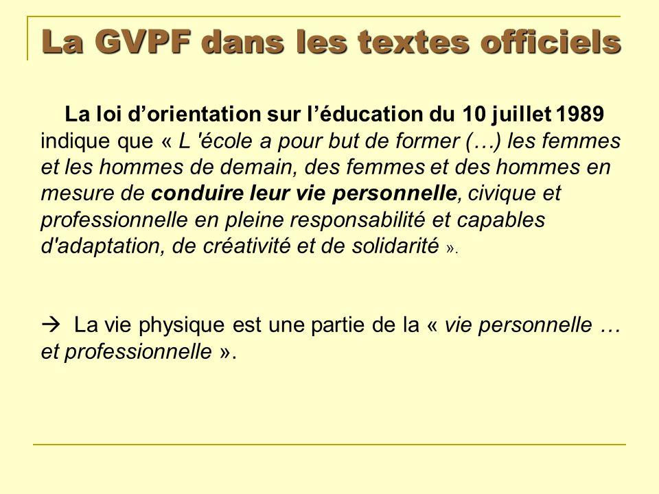 La GVPF dans les textes officiels La loi dorientation pour lavenir de lécole du 23 avril 2005 dans son rapport annexé : « L éducation physique et sportive, dont l enseignement est obligatoire à tous les niveaux, joue un rôle fondamental dans la formation de l élève et son épanouissement personnel.