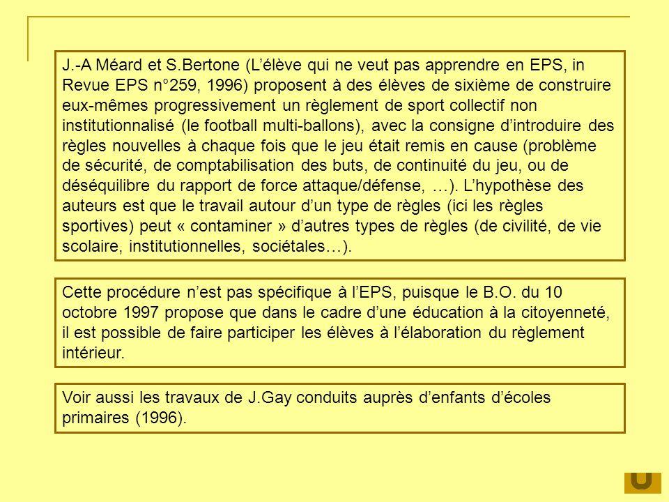 J.-A Méard et S.Bertone (Lélève qui ne veut pas apprendre en EPS, in Revue EPS n°259, 1996) proposent à des élèves de sixième de construire eux-mêmes