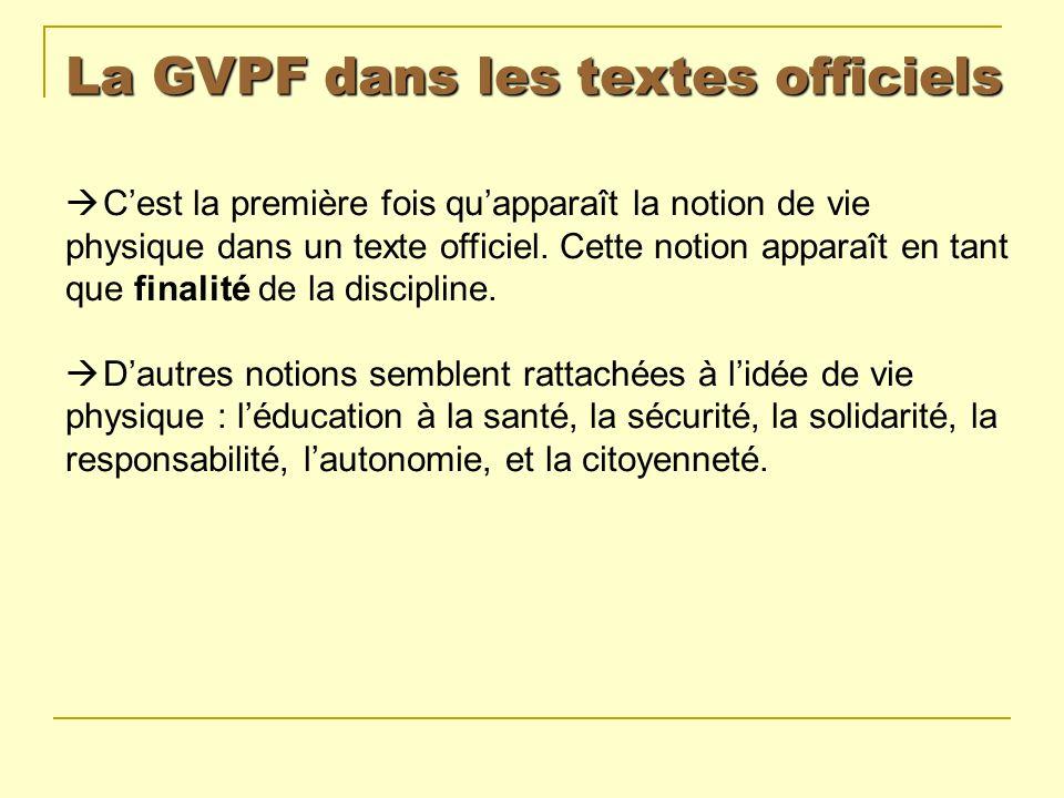 La GVPF dans les textes officiels Cest la première fois quapparaît la notion de vie physique dans un texte officiel. Cette notion apparaît en tant que