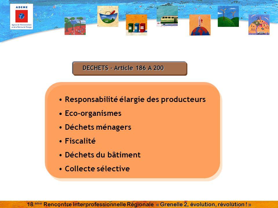 DECHETS - Article 186 A 200 Responsabilité élargie des producteurs Eco-organismes Déchets ménagers Fiscalité Déchets du bâtiment Collecte sélective «