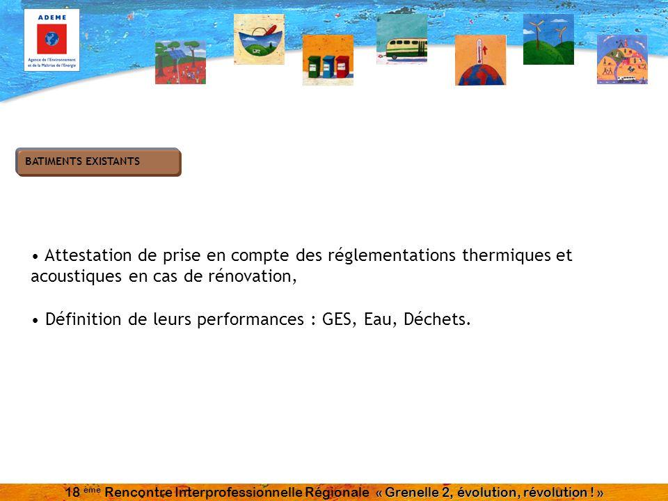 Attestation de prise en compte des réglementations thermiques et acoustiques en cas de rénovation, Définition de leurs performances : GES, Eau, Déchet