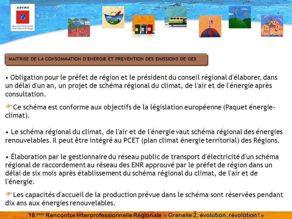 Obligation pour le préfet de région et le président du conseil régional d'élaborer, dans un délai d'un an, un projet de schéma régional du climat, de