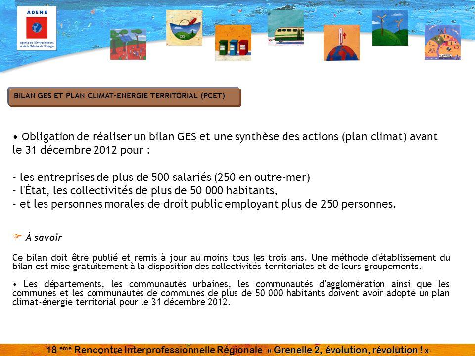 Obligation de réaliser un bilan GES et une synthèse des actions (plan climat) avant le 31 décembre 2012 pour : - les entreprises de plus de 500 salari