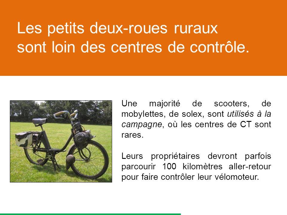 Une majorité de scooters, de mobylettes, de solex, sont utilisés à la campagne, où les centres de CT sont rares.
