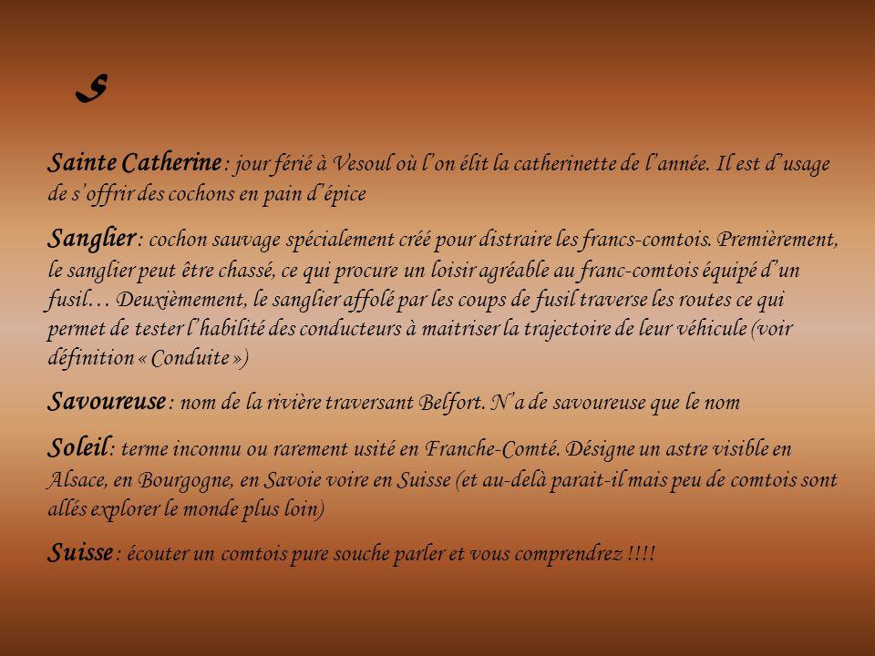Sainte Catherine : jour férié à Vesoul où lon élit la catherinette de lannée. Il est dusage de soffrir des cochons en pain dépice Sanglier : cochon sa