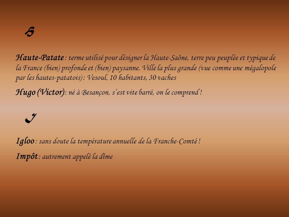 Haute-Patate : terme utilisé pour désigner la Haute-Saône, terre peu peuplée et typique de la France (bien) profonde et (bien) paysanne. Ville la plus