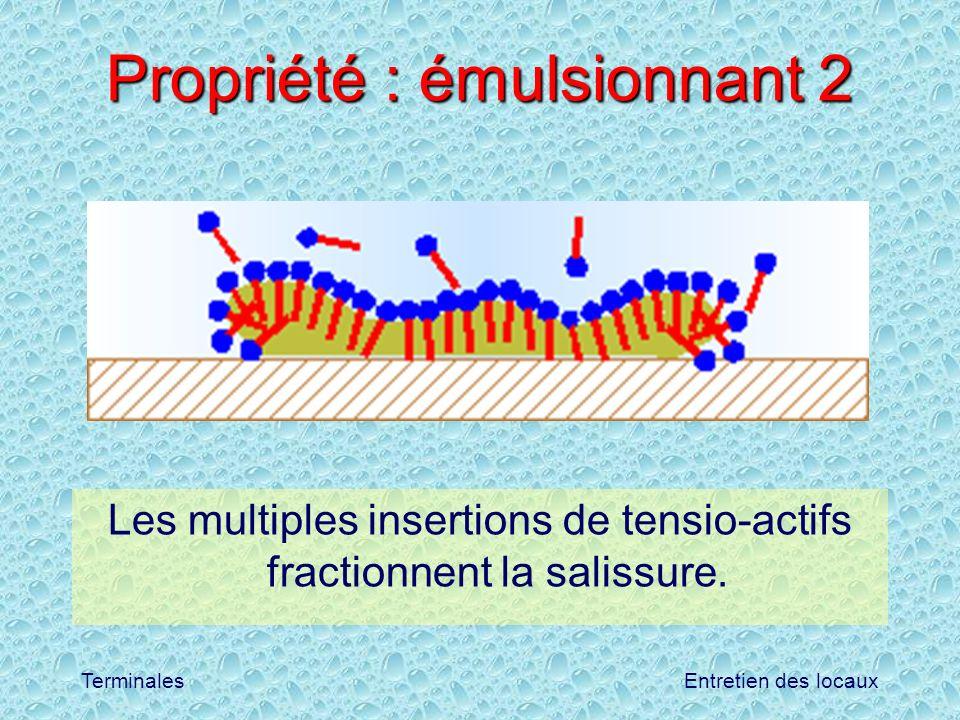 Entretien des locauxTerminales Propriété : émulsionnant 2 Les multiples insertions de tensio-actifs fractionnent la salissure.