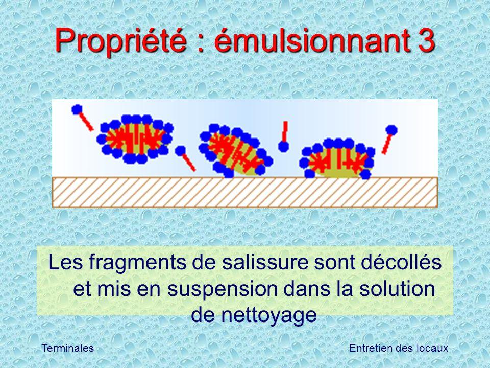 Entretien des locauxTerminales Propriété : émulsionnant 3 Les fragments de salissure sont décollés et mis en suspension dans la solution de nettoyage