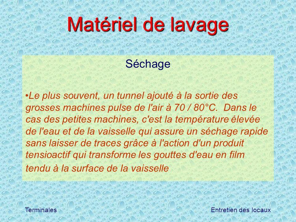 Entretien des locauxTerminales Matériel de lavage Séchage Le plus souvent, un tunnel ajouté à la sortie des grosses machines pulse de l'air à 70 / 80°